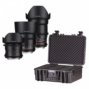 Samyang VDSLR 3-Lens Kit - Includes 14/35/85 (Canon Fit) & Custom Case