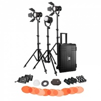 NanGuang LED Fresnel Light CN-30FC 3 Headed Kit with Hard Trolley Case